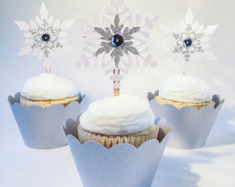 Snowflake Cupcake Toppers - Pearl White /Silver Glitter- Christmas/Holiday/Winter Cupcake Picks - Set of 12 - Ready to Ship