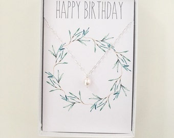 Birthday necklace gift, white pearl necklace, necklace gift, personalised jewelley gift, happy birthday card, message card, pearl necklace