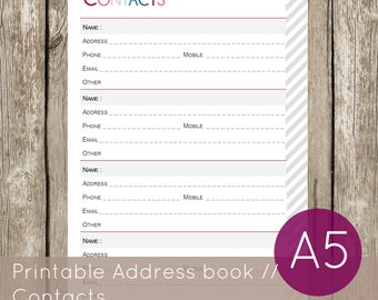 Printable Address Book, Printable contacts insert, Organiser contacts pages // A5 size // Instant download planner