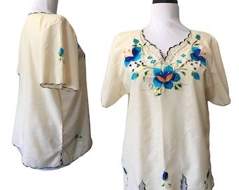 Vintage Ethnic Embroidered Floral Top
