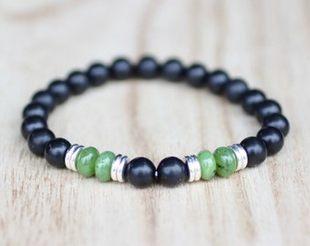 Men's Jade Bracelet. Nephrite Jade Shungite Bracelet. Good Luck. Canadian Jade. Emotional Support. Calming Bracelet. Boosts Immune System.