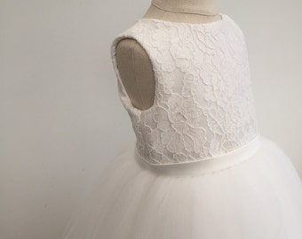 Bespoke Custom Made to Measure Ivory Lace Satin Bodice and Tulle Flowergirl Dress 18th Months to 12 Years