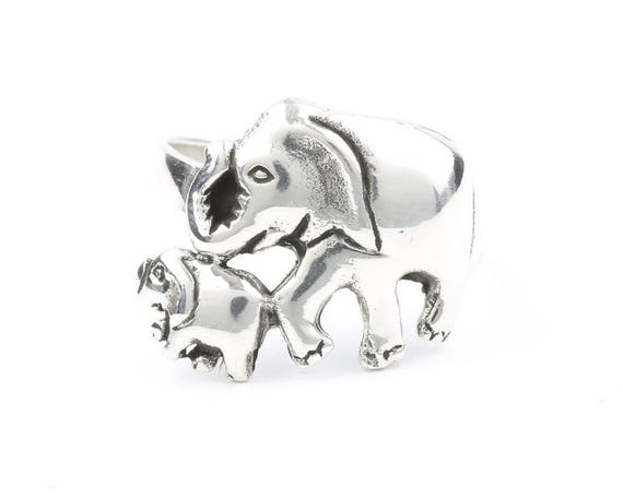 Mom And Baby Elephant Ring, Sterling Silver Elephant Ring, 925, Boho, Gypsy, Festival Jewelry, Good Luck Elephant, Animal Jewelry