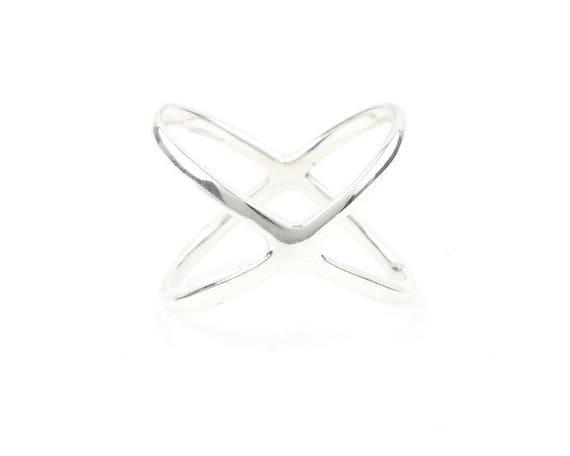 Sterling Silver X Ring, Criss Cross, Geometric Ring, Minimalist Ring, Modern Jewelry, Boho, Bohemian, Gypsy, Festival Jewelry
