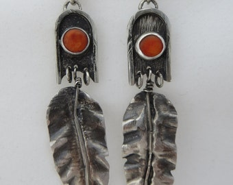 Spiny Oyster Leaf Feather Earrings, Sterling Earrings, Red Orange Oyster Shell Earrings, Silver Earrings