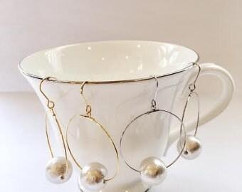 Cotton pearl hoop earrings / bridal / wedding / gift
