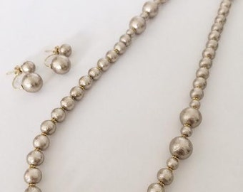 Gold cotton pearl long necklace / Wedding jewelry /Bridal / Gift