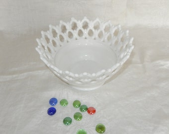 Milk Glass Westmoreland Doric Open Lace Footed Serving Bowl