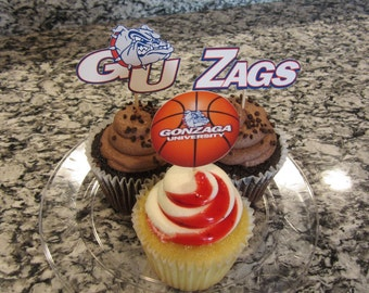 Cupcake toppers, party supplies, Gonzaga Bulldogs, Zags, basketball, sports theme, NCAA, March Madness, college