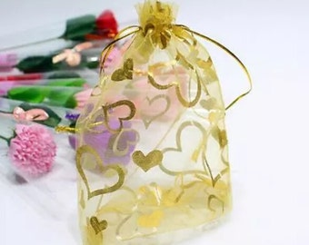 "25 Gold organza bags with gold hearts  2.75""x3.5""   M5"