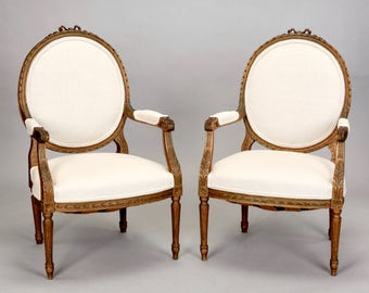Pair French Louis XVI Oval Back Gilded Frame Fauteuils or Arm Chairs [4592]