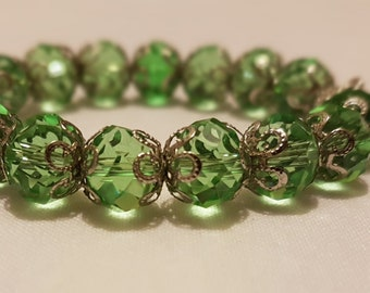 Green Egyptian Crystal Bracelet with Charms