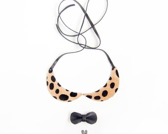 Cheetah Peterpan Collar, Leather Necklace, Peterpan Collar Necklace, Little Girl Necklace, Kids Necklace, Leather collar, Cat Necklace