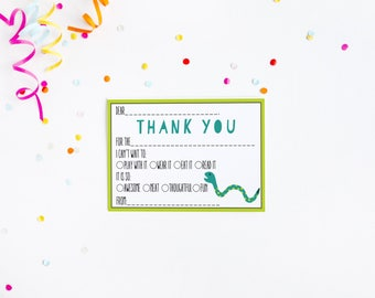 Snake Fill in the Blank Thank You Card Birthday Party Baby Shower {instant download}