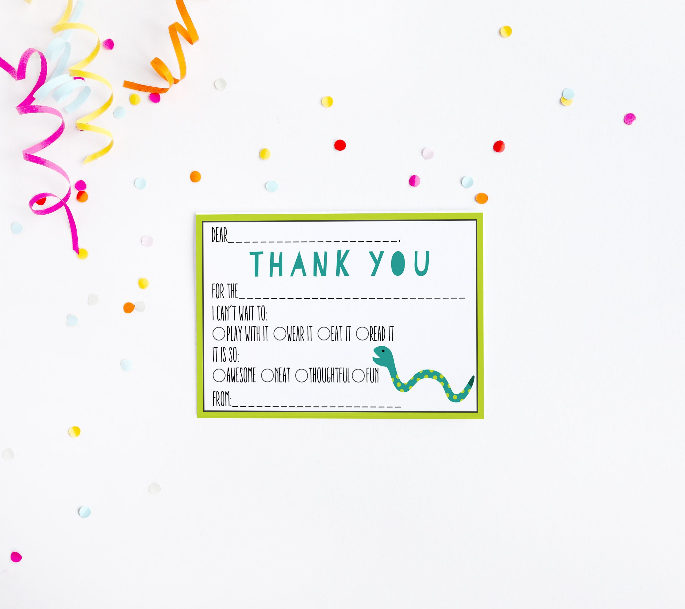 Snake Fill in the Blank Thank You Card Birthday Party Baby Shower