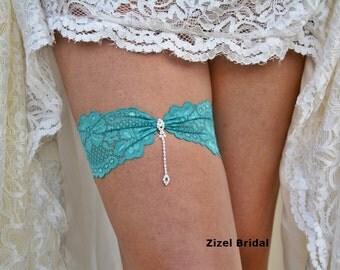 Green Garter Set, Wedding Garters, Bridal Garter Belt, Wedding Garter, Wedding Gift, Green Lace Garter, Crystal Rhinestone, Teal Garter Set