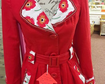 Upcycled Jacket with a Poppy theme.