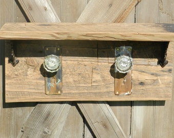 Rustic, Antique Glass Door knobs on wall shelf handmade from Historic Pennsylvania Barn Wood