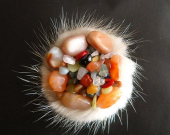 Fur brooch with natural stones