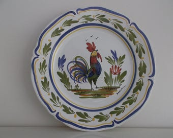 wall plate Keraluc, Quimper earthenware faience entirely handpainted, keraluc Rooster plate