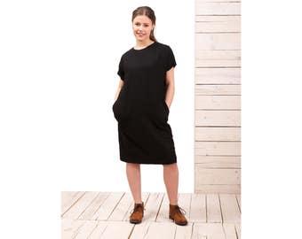 Black linen dress tunic -xl dress - xxxl dress-