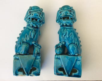 1950's Pair of Turquoise Glazed Foo Dogs