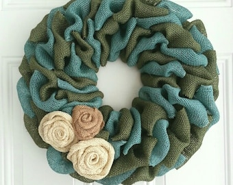 green wreath turquoise wreath burlap wreath spring wreath summer wreath burlap rosettes fall wreath shabby chic wreath rustic wreath