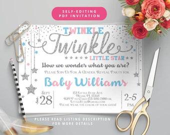 Self-Editing Gender Reveal Invitation-Twinkle Twinkle Little Star Baby Shower Invitation-Printable Gender Reveal Baby Shower Invite-Silver