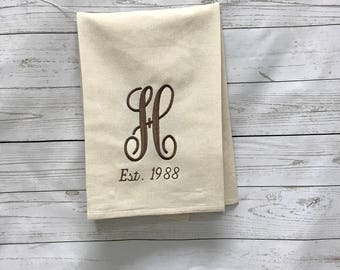 Wedding towel, Anniversary towel, Wedding gift, Bridal shower gift, Monogrammed Towel, Personalized Towel, Gifts for her, Bride gift, gifts,