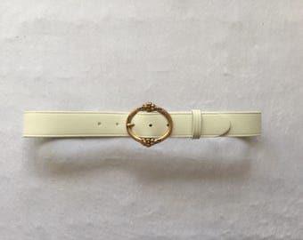 Women's Medium - Vintage 80s White Leather Cinch Belt