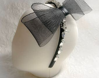 Tulle Bow Headband, flower girl headband, black headband, girl accessories