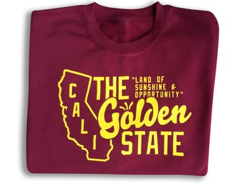 Golden State vintage Sweatshirt. Womens sweaters Mens sweaters unisex sweaters jumper pullover crewneck California American state burgundy