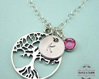 Custom Family Tree Charm Necklace, Sterling Silver, Tree of Life, Charm Necklace, Tree Necklace, Family Necklace,Swarovski Birthstone,CPL002