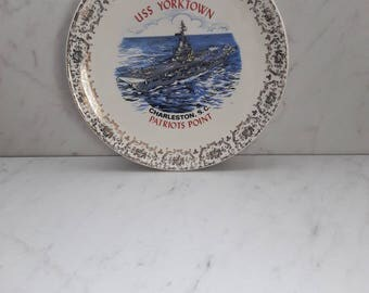 USS Yorktown/Patriot's Point Collectible Souvenir Plate, Vintage