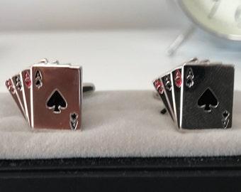 Poker Cards CuffLinks - Ideal gift or Wedding Best Man Present - Poker player gift