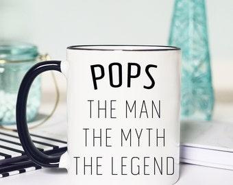 Funny Pops Mug, Funny Mug for Pops, The Man The Myth The Legend, Funny Pops Gifts, Funny Gift for Pops, Pops Coffee Mug, Mug for Grandfather