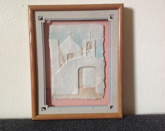 """Vintage-3D Hand Cast Paper Art- Wess- """"Pueblo Church"""""""