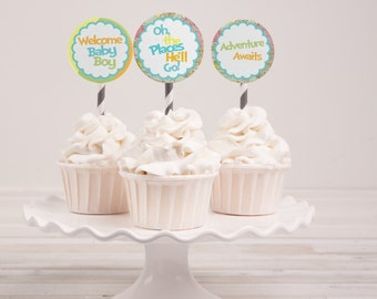 Instant Download - Oh the Places He'll Go Baby Shower Cupcake Toppers