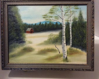 Vintage folk art painting, woodland painting, landscape painting, framed painting, oil painting, barn painting