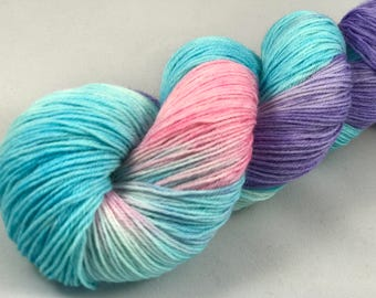 "Hand Dyed Sock Yarn, Superwash Wool & Nylon ""Furby Baby"""