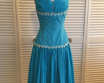 1950s blue cotton halter dress with bolero jacket