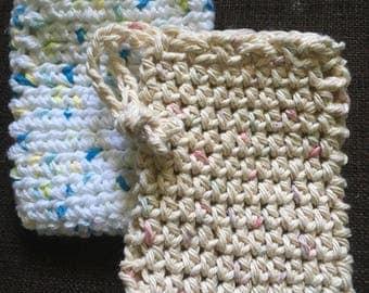 Crochet Soap Saver, Spa Accessories, Set of 2, Reusable Soap Pouch, Soap Sachet, Drawstring Soap Saver, Crochet Soap Bag, Soap Sack