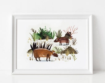 River Hogs Art Print - Giclée illustration print, Limited Edition, Childrens art print, Nursery art, Animal print, Unframed, A4