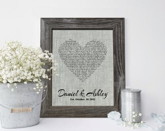 4th Wedding Anniversary Linen gift, Wedding Song Lyrics, First dance song, Vows Art personalized gift for him, her - LN0103