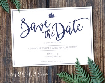 Printable Rustic Pine Tree Save The Date   DIGITAL FILE   Customized Digital Printable Rustic Outdoors Woodland Wedding Save The Date