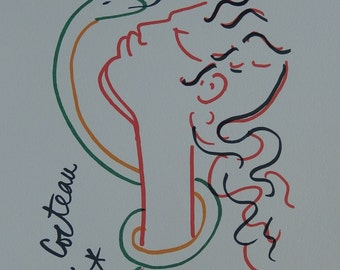 Jean COCTEAU: Eve and the serpent - signed lithograph