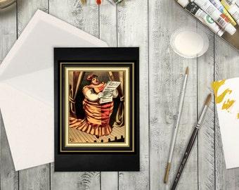 High Resolution Card Digital Download of Vintage Circus Poster of Opera Singer. Card for Any Occassion Perfect for Musician or Actor.