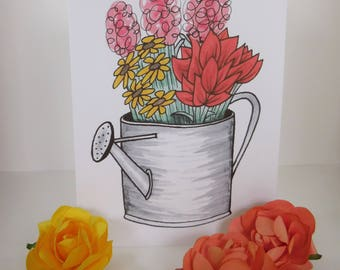 Water Can Flower Greeting Card Print