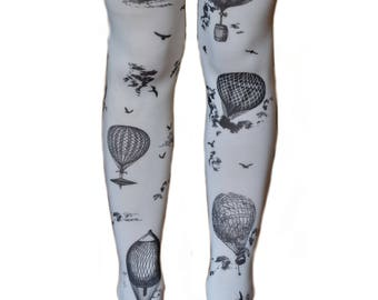 SALE Steampunk Balloon Art Custom Printed Tattoo Tights Vintage Adult Spandex Footed Seamless Leggings Opaque Black White Airship Balloons