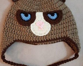 Crocheted Grumpy Kitty Hat